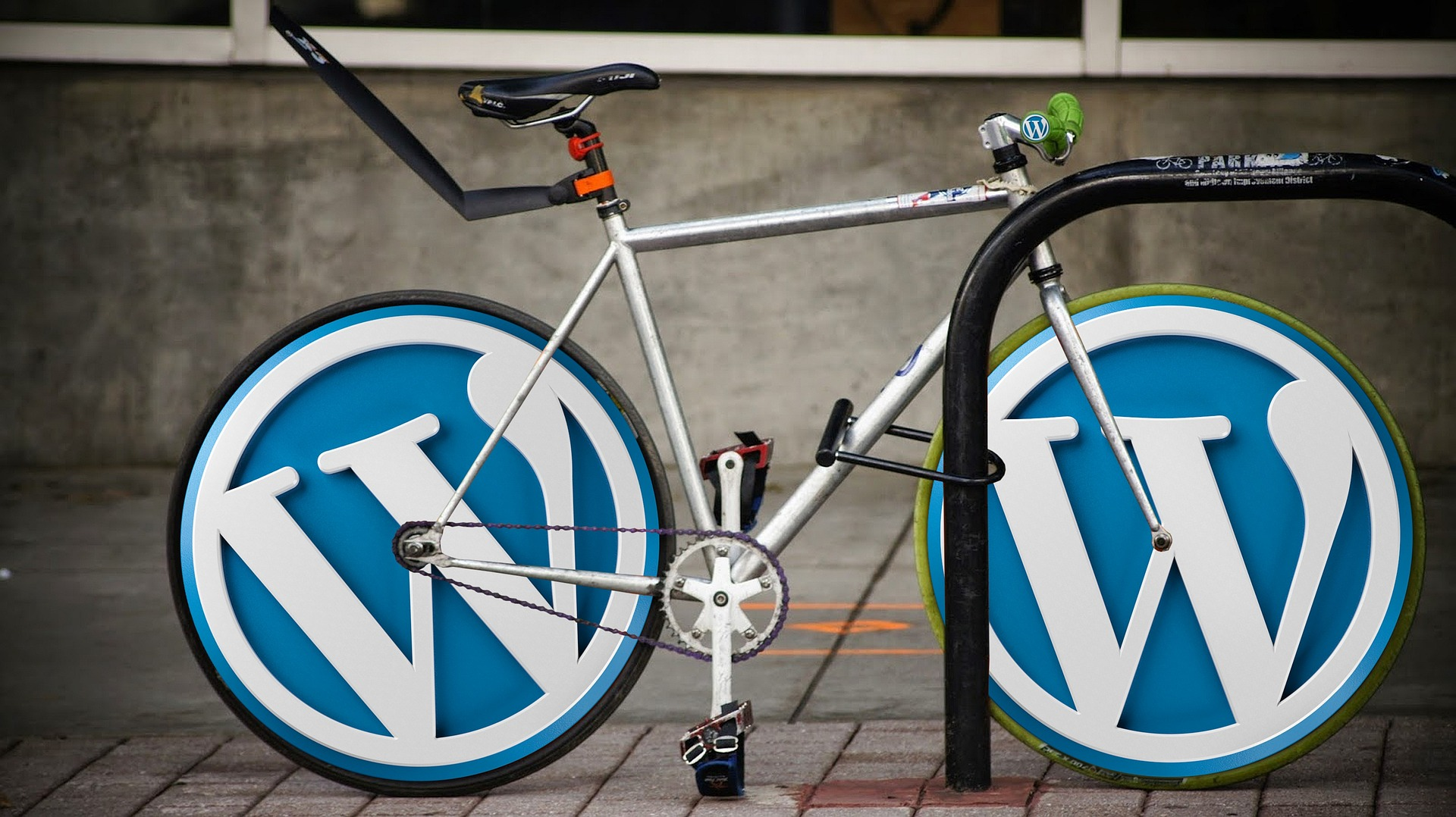 wordpress logo on bike tires